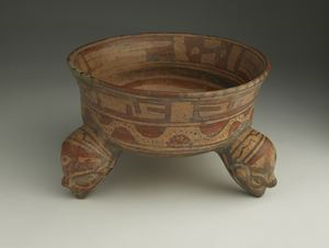 Image of Polychrome Tripod Pottery Bowl