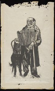 Image of Blind Musician and Dog