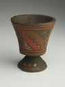 Image of Wood Polychrome Pedestal Cup (Kero)