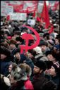 Image of Demonstrators in Moscow's Manezh Square in February 1992 show their support for Communism and their rejection of Boris Yeltsin, Moscow, Russia