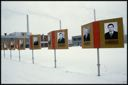 Image of Photographs of officials in front of building, Moscow, Russia