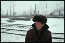 Image of Man in railroad yard in Chelyabinsk during winter, Chelyabinks, Russia