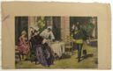 Image of Watercolor book illustration of standing man and women at table