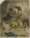 Image of Watercolor book illustration of cats and a dog