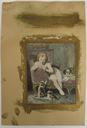 Image of Watercolor book illustration of girl in chair with kittens